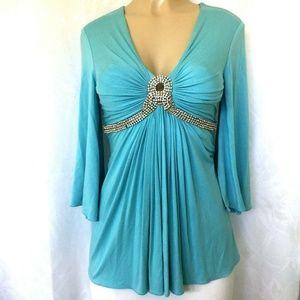 SKY Brand Top Blouse Shirt Crystal Rhinestone M